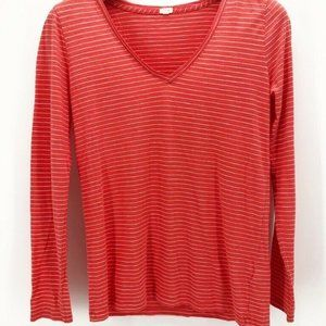 J Crew Womens T-Shirt Orange White Striped M